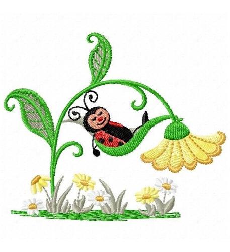 joaninhas no jardim - coleção de matriz de bordado