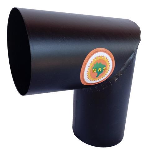 joelho para tubo de chaminé preto diâmetro 10cm