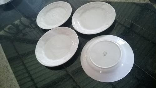 jogo 04 pratos pires porcelana antiga ( branca)