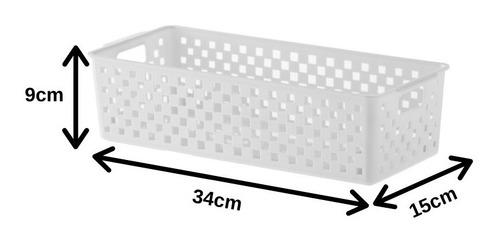 jogo 10 cestos branco para organizar dispensa 34x15x9cm 890