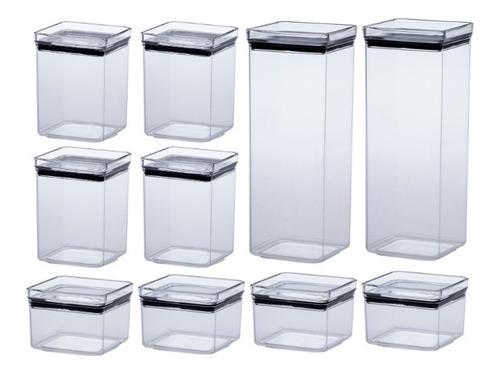 jogo 10 potes herméticos quadrado lumini 480|1000|2200ml