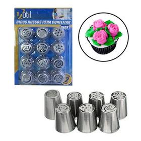 Jogo 12 Bicos Russo Aço Inox Confeiteiria Bolos Cupcakes