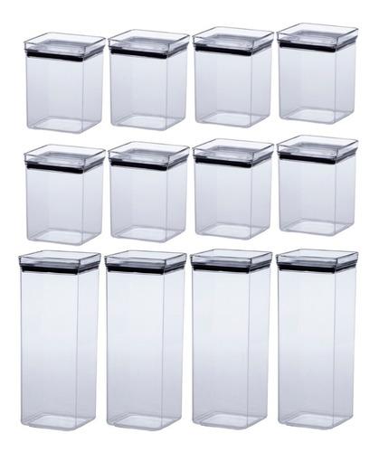 jogo 12 potes herméticos quadrado lumini 1000|2200ml