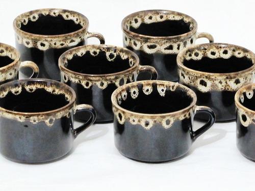 jogo 12 xícara cha 180 ml porcelana preta borda caneca cafe