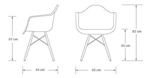 jogo 2 cadeira charles eames eiffel amarela c/braços