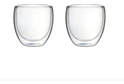 jogo 2 copos parede dupla vidro 240ml café chá bar