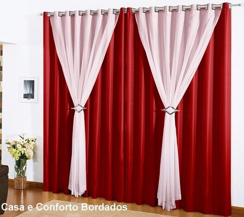 jogo 2 cortinas 3 metros 3,00x2,80 forro vison voil clássica