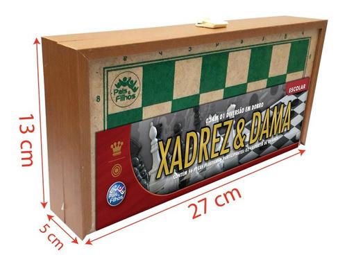 jogo 2 em 1 xadrez e dama escolar tabuleiro caixa em madeira