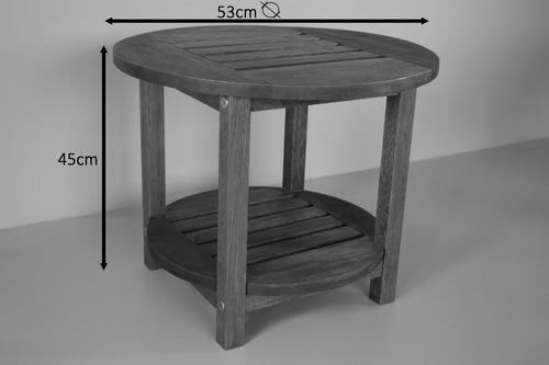 jogo 2 espreguiçadeira madeira panton + mesa d apoio redonda