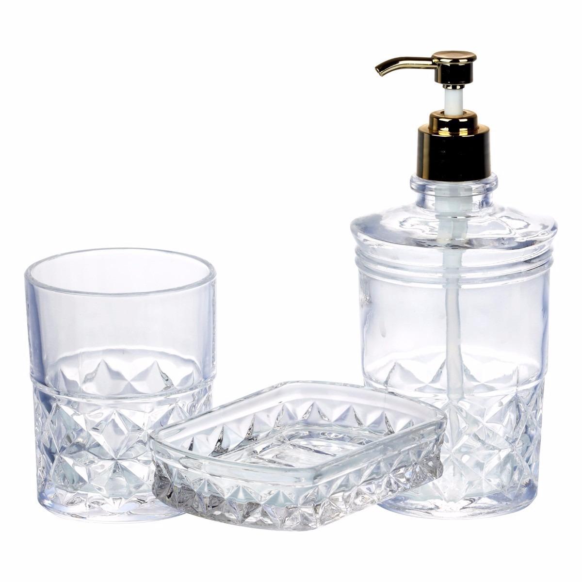 Kit Banheiro 3 Peças Lixeira Inox 2 Peças : Jogo pe?as banheiro kit saboneteira vidro tampa dourado