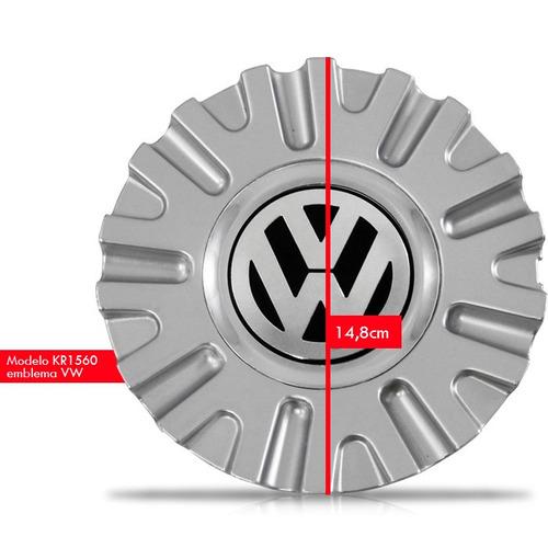 jogo 4 calota centro miolo roda kromma kr1560 prata logo vw
