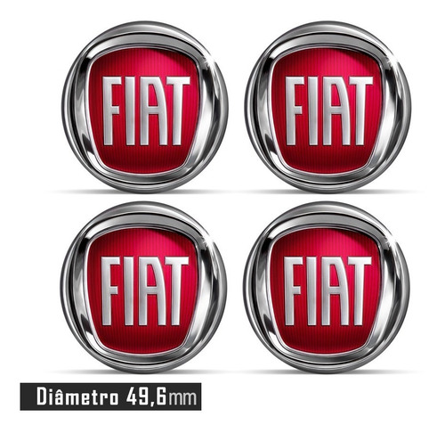 jogo 4 emblema adesivo roda fiat punto 49,6mm acrílico