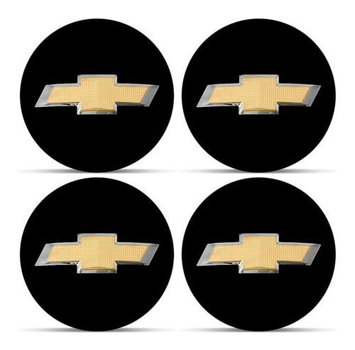 jogo 4 emblema logo adesivo roda chevrolet gm 3d preto 58mm