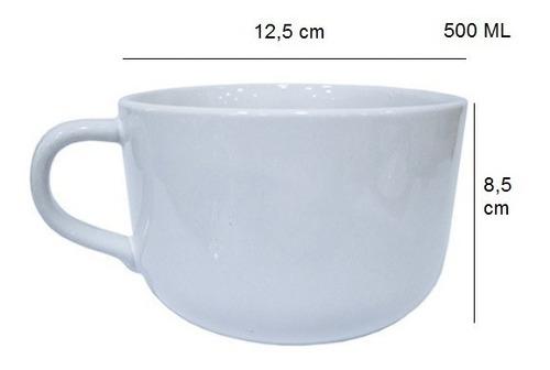 jogo 6 caneca jumbo caldo 500 ml xícara porcelana branca