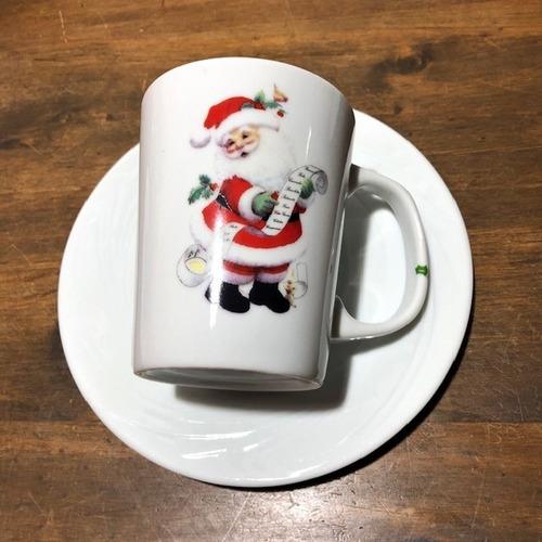 jogo 6 canecas com pires, de porcelana - natal