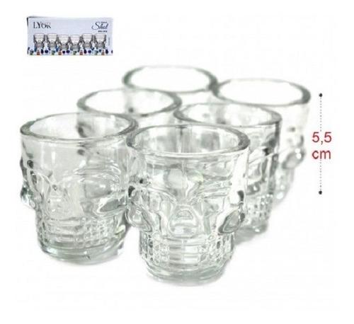 jogo 6 copos caveira vidro shot dose vodka skull tequila bar