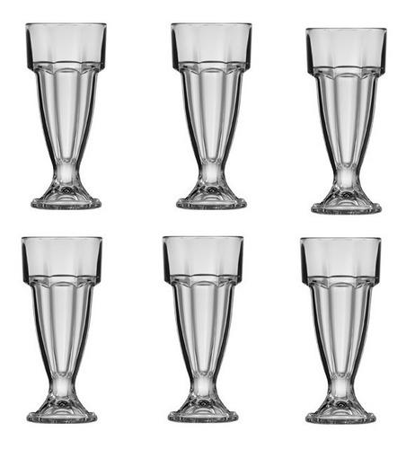 jogo 6 taça suco vidro 300 ml copo milk shake sorvete