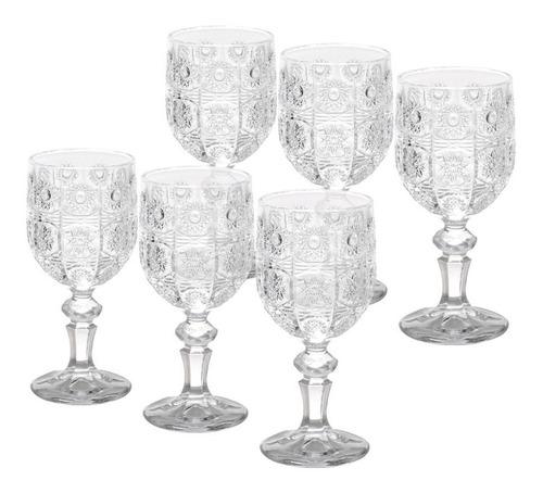 jogo 6 taças de vidro  p/vinho starry 200ml