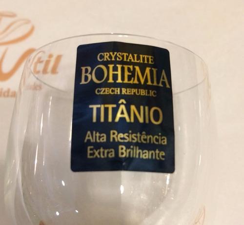 jogo 6 tacas licor klaudie coloridas bohemia titanio