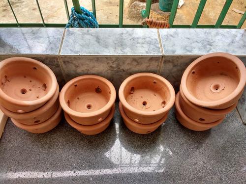 jogo 6 vasos de barro  nº 1 floricultura orquídea 16x12 cm