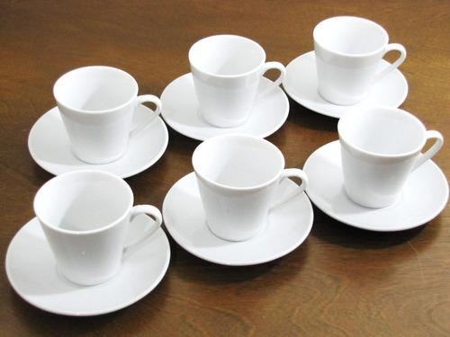 jogo 6 xícara + pires porcelana 70 ml canequinha cafezinho