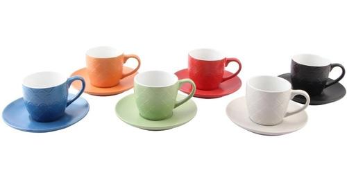 jogo 6 xícaras de chá 220ml coloridas porcelana bon gourmet