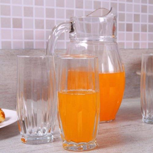 jogo 7 peças jarra vidro 2l com 6 copos vidro 340ml dance