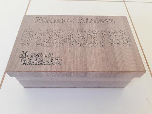jogo alinhavo numeros mdf - 20 peças