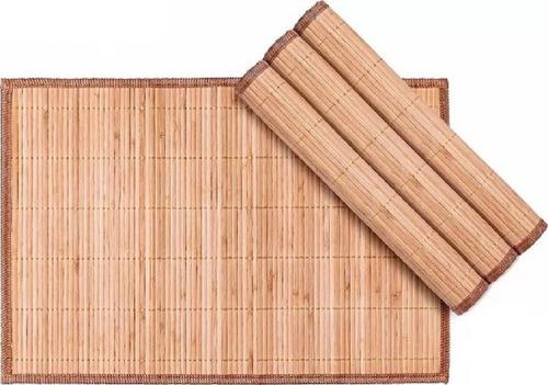 jogo americano bambu mesa 4 peças caramelo com viés 30 x 45
