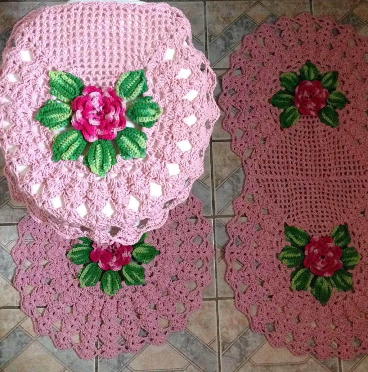 Jogo Banheiro Em Crochê  R$ 149,99 em Mercado Livre -> Jogo De Banheiro Simples Em Croche
