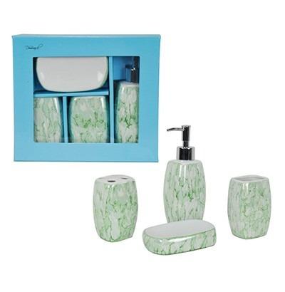 jogo banheiro marmorizado porcelana 4 peças lindo