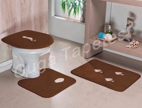 jogo banheiro marron bordado fundo do mar antiderrapante 3pç