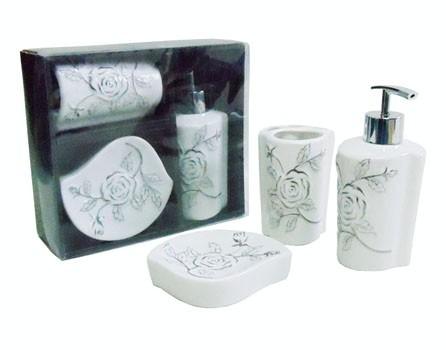 jogo banheiro  porcelana flores 3 peças lindo barato