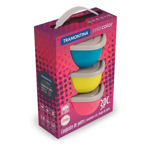0e26473945 Jogo Bowls 600ml 3 Peças Mix Color Tramontina - R  84