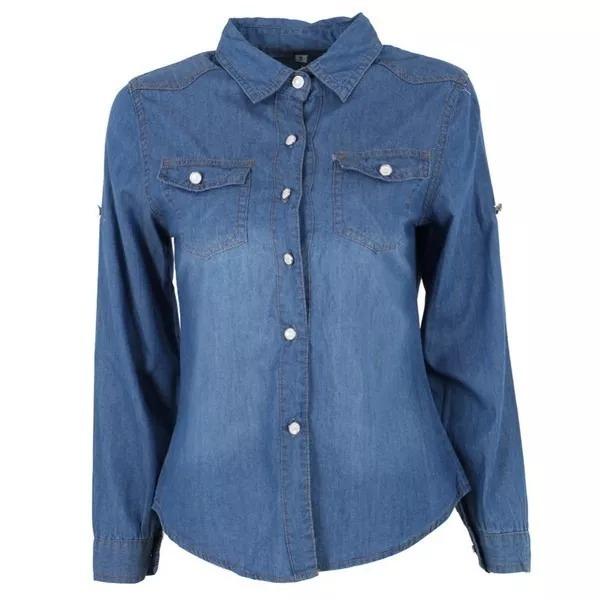 a037d6cf2d Jogo C 2 Camisas Jeans Manga Longa Feminina Promoção - R  137