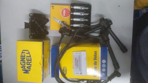 jogo cabos+jogo velas+bobina ignição siena 1.0 1.3 16v fire