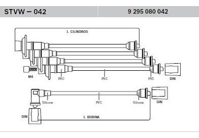 Jogo Cabos Vela Delphi Brasilia Fusca Kombi 1300 1600 10074 R