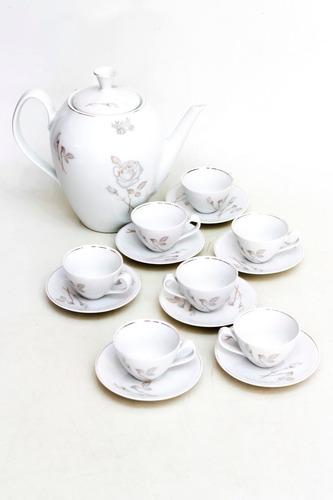 jogo café 8 peças porcelana renner friso dourado cchic *