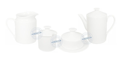 jogo café porcelana bule, leiteira, açucareiro, mantegueira