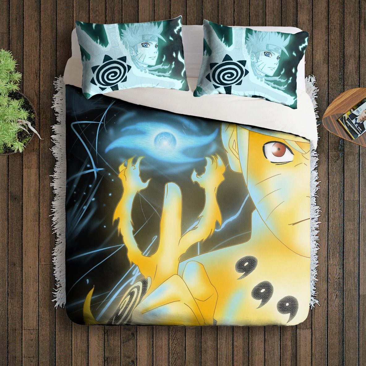 Jogo Cama Casal Travesseiro Naruto Shippuden Anime Power