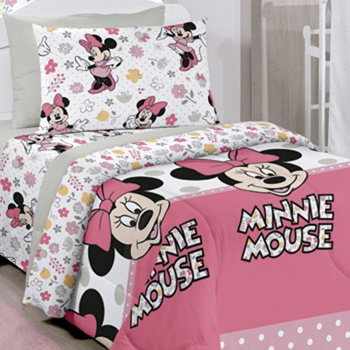 c0950185ab Jogo De Cama Quarto Crianca Lencol Disney Minnie Happy 3 Pçs - R  72 ...