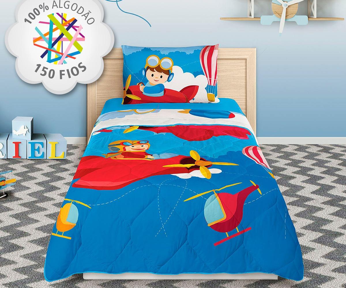 a10beed14b jogo cama solteiro infantil piloto aviões 3 peças original. Carregando zoom.