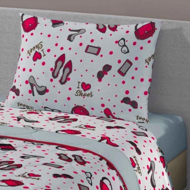 b1aedbb653 Jogo Cama Solteiro Lençol Com 3 Peças Fashion 80% Algodão - R  105 ...