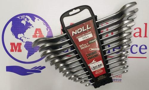 jogo chave boca fixa 12 peças 6 a 32mm noll cromo vanadium