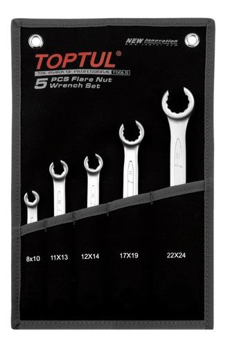 jogo chave poligonal aberta 12x14 mm - 05 peças - toptul