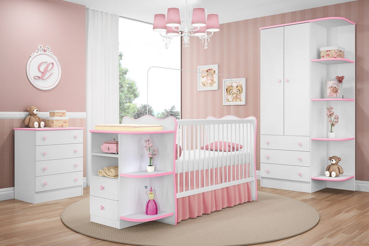 08037cc231b489 Jogo Cômoda Armário Berço Infantil Branco Rosa Qmovi