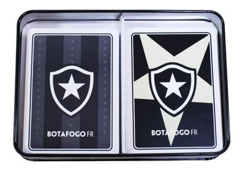 jogo com 2 baralhos dentro da lata - botafogo