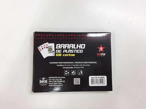 jogo com 2 kit baralho de plástico c/2