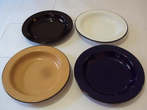 jogo com 4 pratos fundos esmaltados vintage-frete grátis