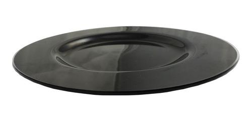 jogo com 4 sousplat de vidro preto 31cm de diâmetro